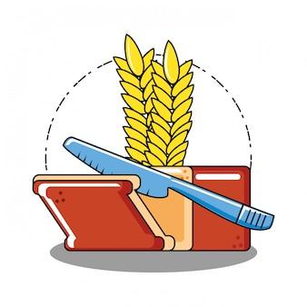 Delizioso pane con punta e coltello