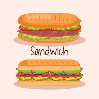 Delizioso panino fast food disegno vettoriale illustrazione