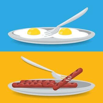 Delizioso piatto per la colazione con uova fritte e menu con menù di salsicce grigliate