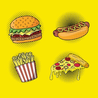 Delizioso stile pop art fast food