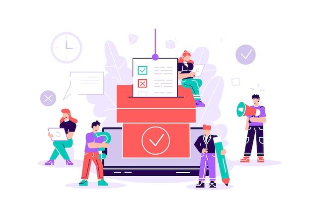 Democrazia. il concetto online dell'illustrazione di vettore di voto, la gente dà il voto e mette il voto cartaceo nell'urna.