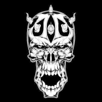 Demone con disegno a mano in corno