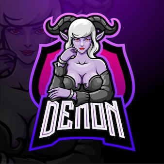Demone ragazza esport logo design mascotte