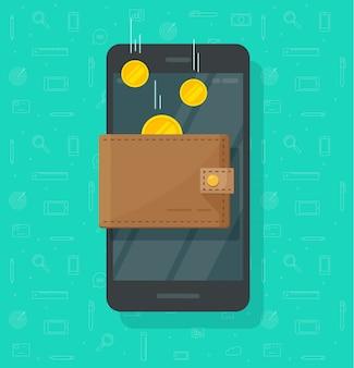 Denaro di reddito online nel cartone animato piatto portafoglio elettronico cellulare