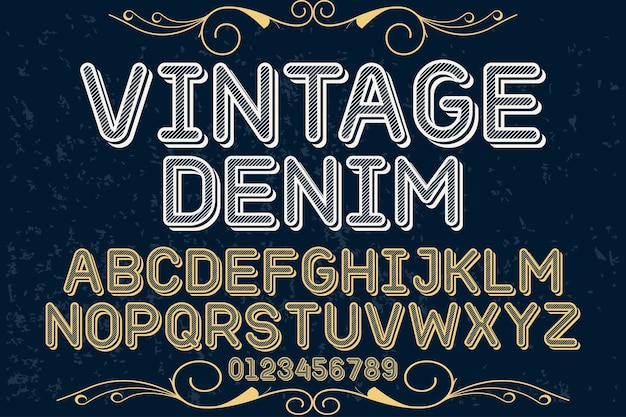 Denim di alfabeto di carattere vintage alfabeto