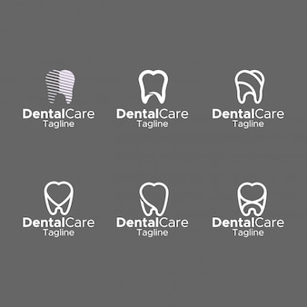 Dental logo simple monogram elegant flat design