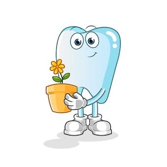 Dente con un'illustrazione di vaso di fiori