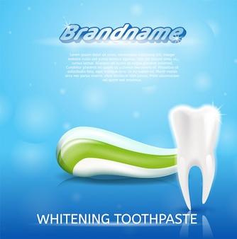Dente e dentifricio in pasta sani di immagine realistica in 3d