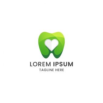Dente gradiente impressionante e amore modello di progettazione icona logo cure odontoiatriche