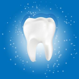 Dente sano con effetto incandescente, denti che imbiancano concetto