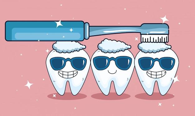 Denti sanitari con occhiali da sole e igiene dello spazzolino da denti
