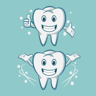 Denti sorridenti della mascotte del dente con uno spazzolino da denti