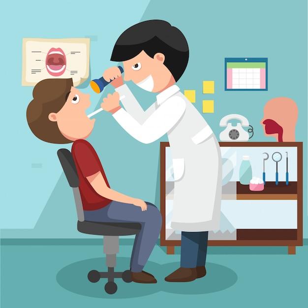 Dentista che effettua l'illustrazione dell'esame