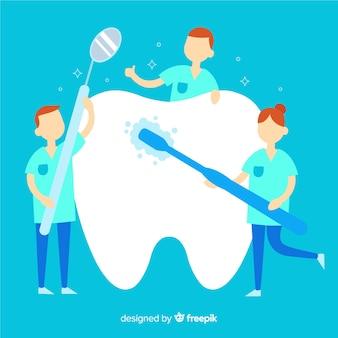 Dentista piano prendersi cura di uno sfondo di dente
