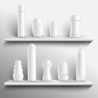 Deodoranti in bianco sugli scaffali realistici