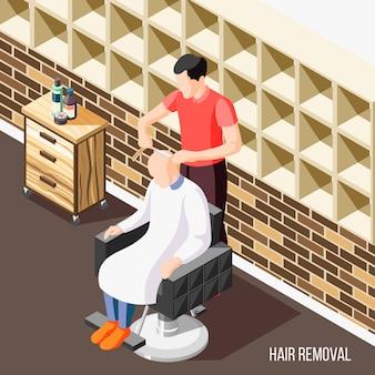 Depilazione isometrica con l'uomo che fa radersi la testa in salone 3d
