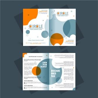 Depliant aziendale con arancio e blu cerchi