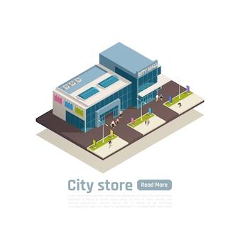 Deposito dell'insegna isometrica della composizione nel centro commerciale del centro commerciale con l'illustrazione di vettore della costruzione e del prato inglese di vista superiore