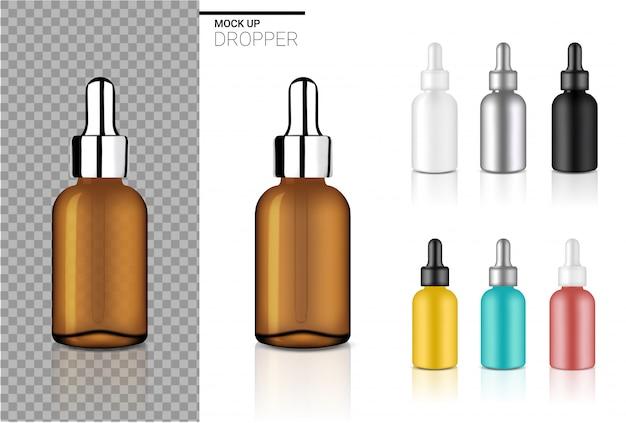 Derida sul modello stabilito del cosmetico realistico della bottiglia del contagoccia per olio o profumo su fondo bianco.