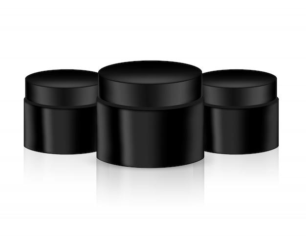 Deridere sul prodotto di imballaggio del barattolo nero realistico per bellezza cosmetica