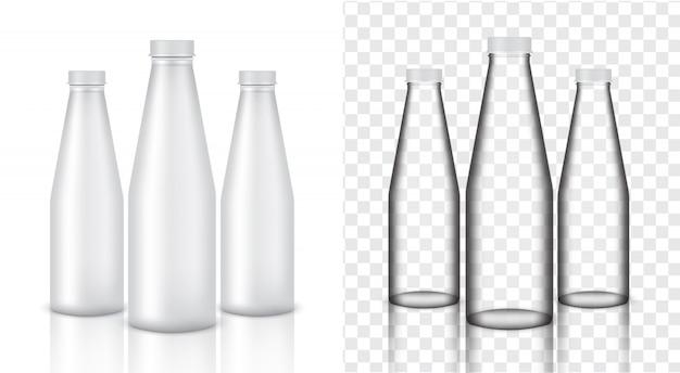 Deridere sul prodotto di imballaggio trasparente bottiglia di vetro realistico