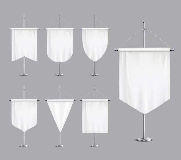 Derisione bianca in bianco sulle bandiere degli stendardi che affusolano le insegne sull'illustrazione realistica dell'insieme del piedistallo di sostegno del supporto di palo
