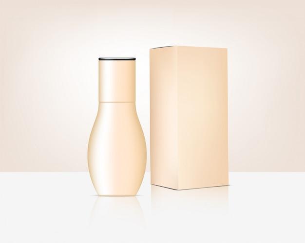 Derisione della bottiglia sul cosmetico e sulla scatola organici realistici per l'illustrazione del fondo del prodotto di cura della pelle. assistenza sanitaria e concetto medico.