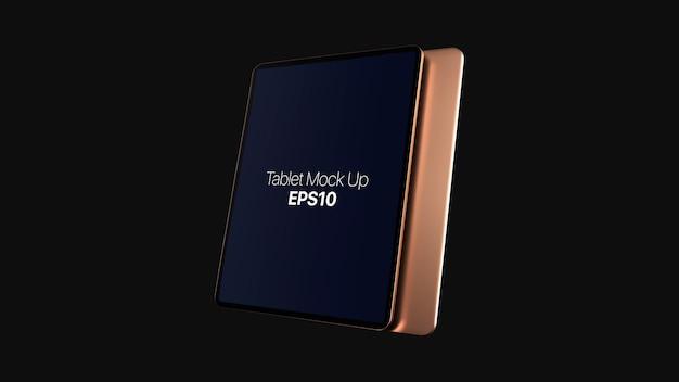 Derisione digitale dorata della compressa su isolata su fondo nero. mockup moderno tablet oro