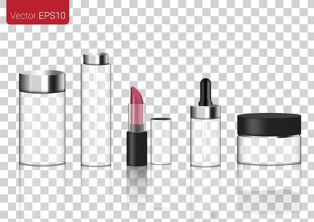 Derisione su realistic glass transparent packaging products for cosmetic
