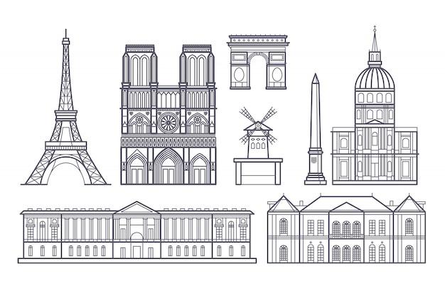 Descriva il paesaggio di parigi, icone dei punti di riferimento di vettore della francia