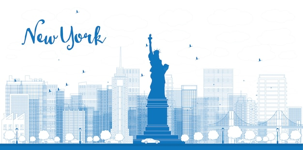 Descriva l'orizzonte di new york city con i grattacieli
