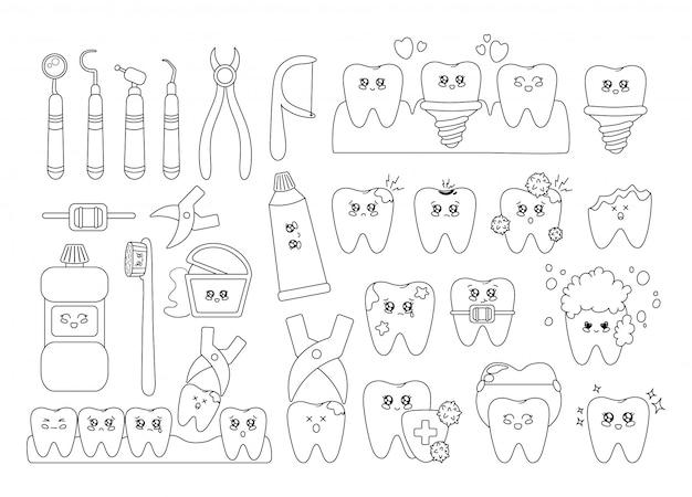 Descrivi i denti kawaii con emodji, cure odontoiatriche, odontoiatria