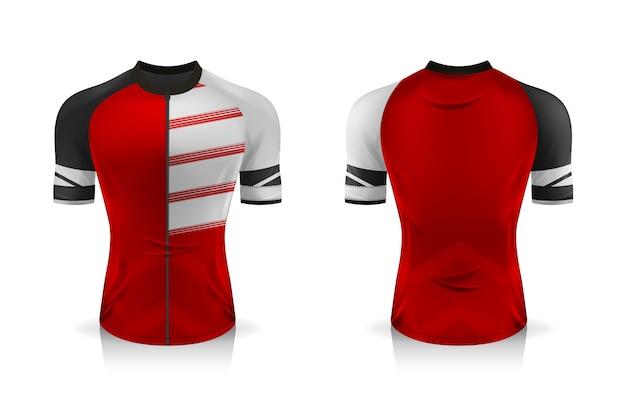 Descrizione modello di maglia da ciclismo. t-shirt sportiva girocollo uniforme per abbigliamento da bicicletta. illustrazione, livelli di lavoro separati.