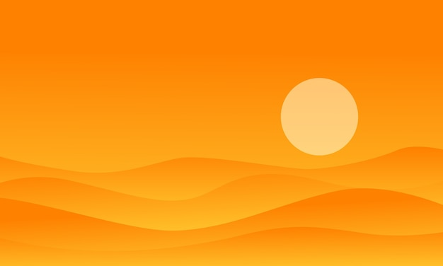 Deserto di illustrazione su sfondi arancioni
