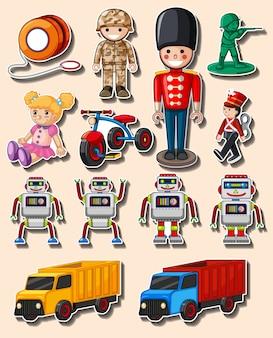 Design adesivo con diversi giocattoli e camion