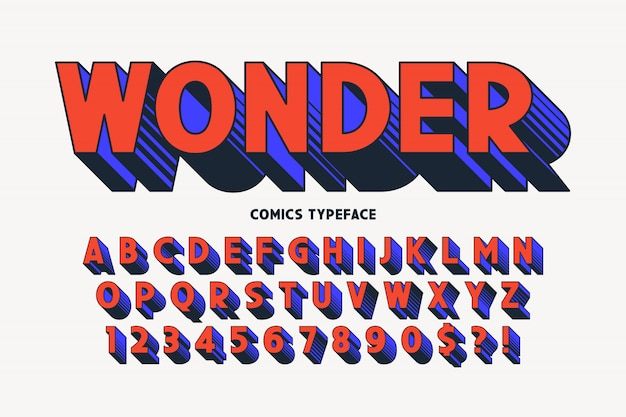 Design alla moda di carattere comico 3d, alfabeto colorato, carattere tipografico.