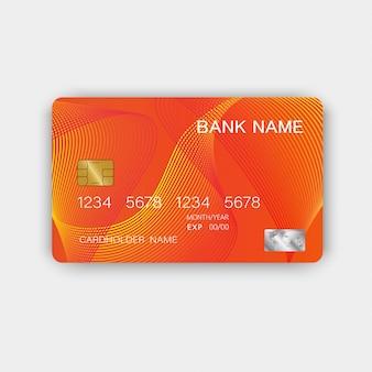 Design arancione della carta di credito. con ispirazione dall'estratto