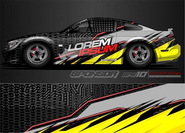 Design avvolgente per auto da corsa e livrea del veicolo