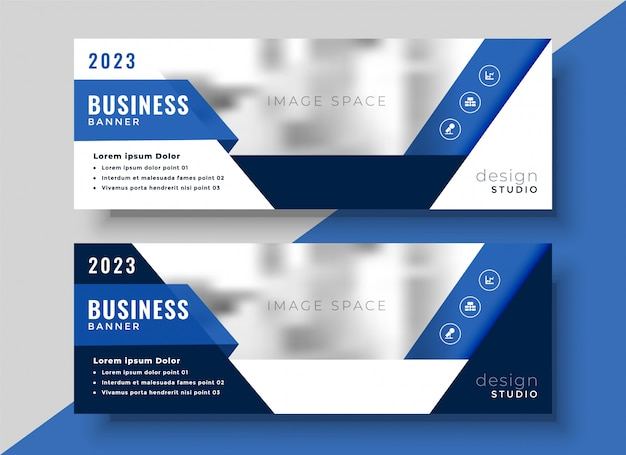 Design aziendale banner blu per il tuo business
