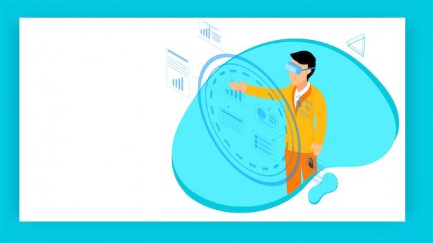 Design basato su concetto di realtà virtuale stile piatto.