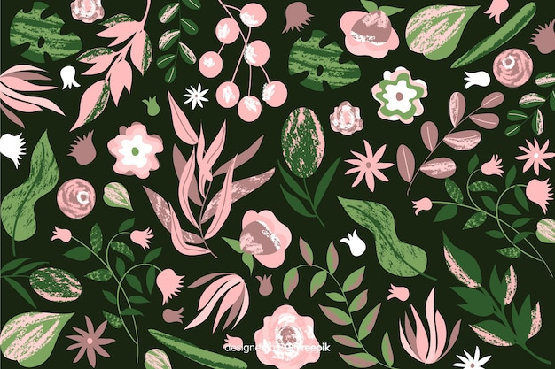 Design batik per sfondo floreale dipinto a mano