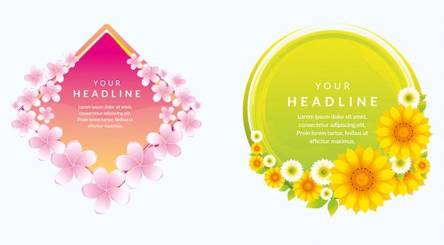 Design bellissimo modello di banner con fiore naturale