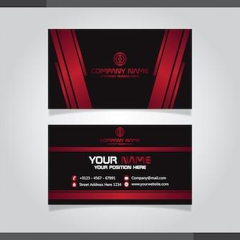 Design biglietto da visita rosso e nero
