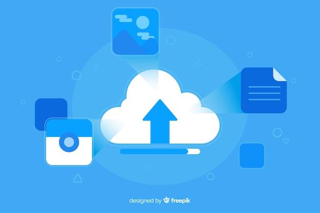 Design blu piatto per il caricamento delle immagini nelle landing page