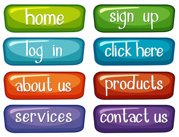 Design botton con parole diverse