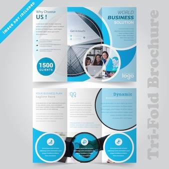 Design brochure aziendale blu a tre ante