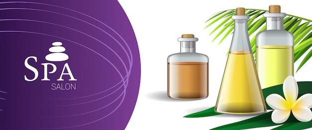 Design brochure salone spa con olio da massaggio, foglia di palma e fiore tropicale