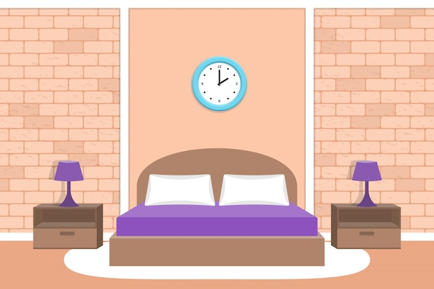 Design camera da letto. illustrazione di interni della camera.