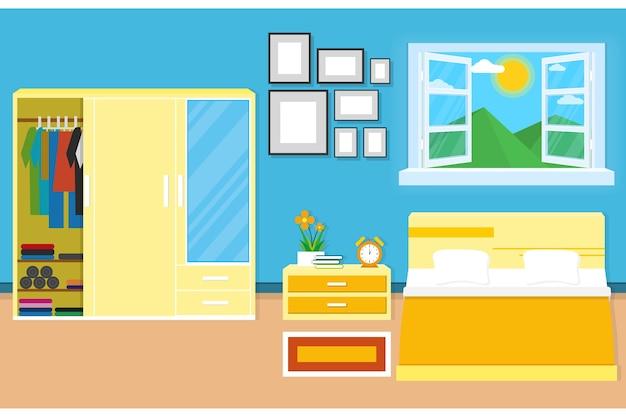 Design camera da letto interni con mobili