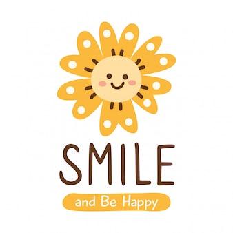Design carino con fiore sorridente